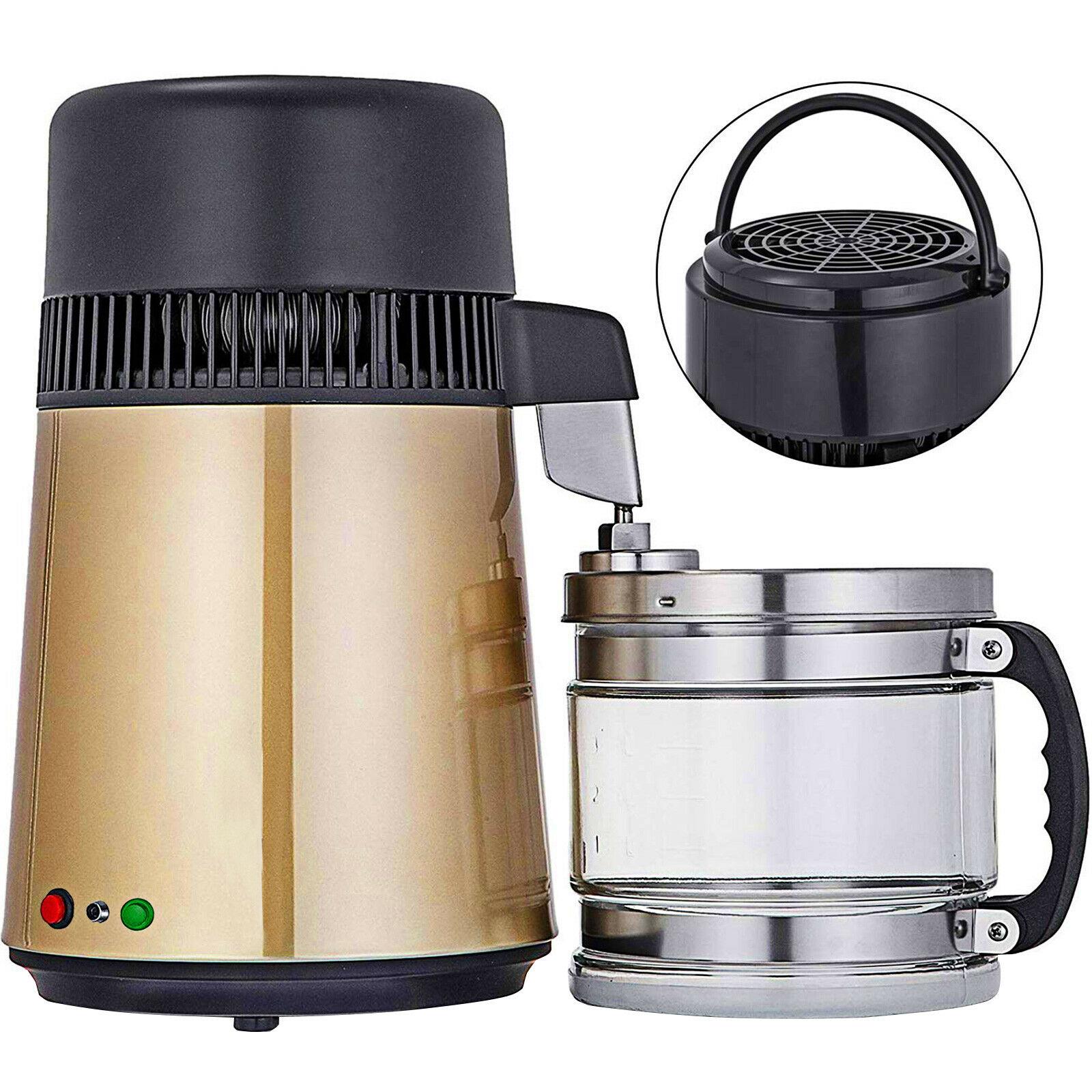 جهاز تقطير المياه 1.1 جالون/4 لتر ، جهاز تنقية مياه من الفولاذ المقاوم للصدأ ، سطح تقطير 750 وات مع زجاجة توصيل