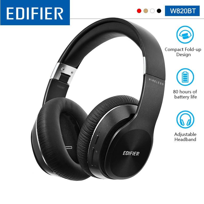 Беспроводные наушники EDIFIER W820BT с Bluetooth, шумоизоляция, технология CSR до 80 часов, время воспроизведения легко складывается