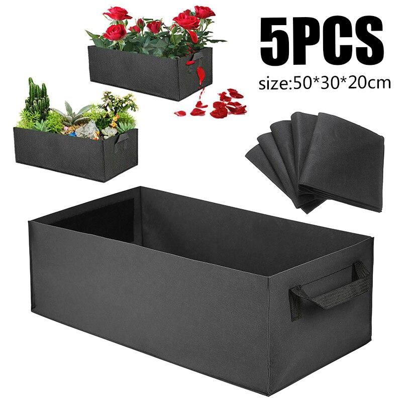 5pcs Reusable Grow Bag 50x30x20cm Planter Rectangle Vegetable Tomato Potato Carrot Garden Plant Planting Bag