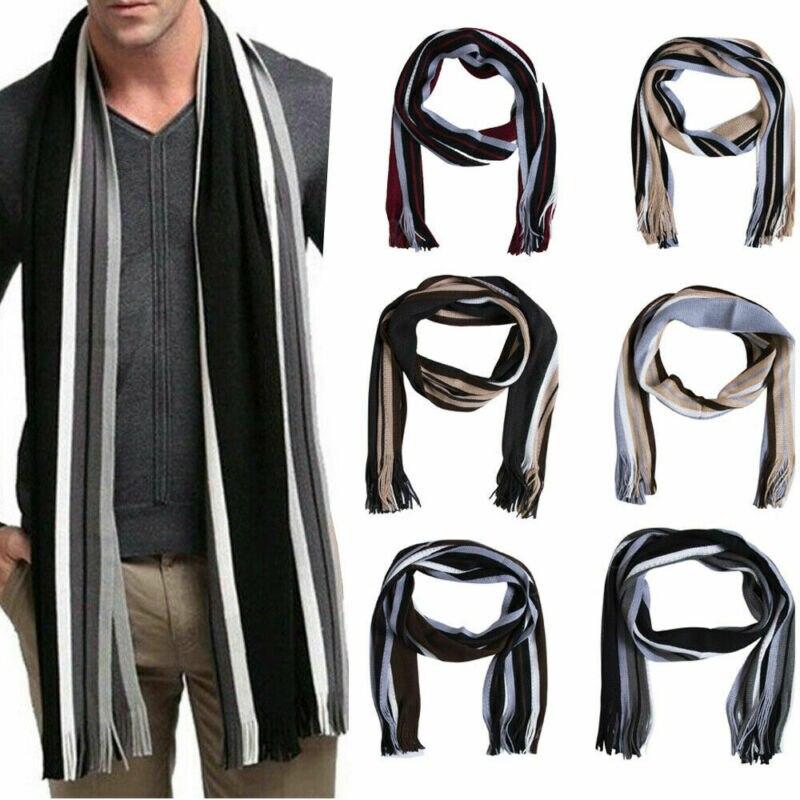Larga suave, de punto bufanda de lana clásico mantón de invierno cálido Fringe con flecos, a rayas bufanda