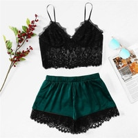 Sexy Lingerie Nightwear Women Sexy Lace Pajama Set Sexy Camis Tops And Shorts Set Sleepwear 2020