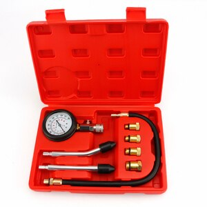 Gasoline Engine Compression Tester Auto Petrol Gas Engine Cylinder Automobile Pressure Gauge Tester with M10 M12 M14 M18 Adapter
