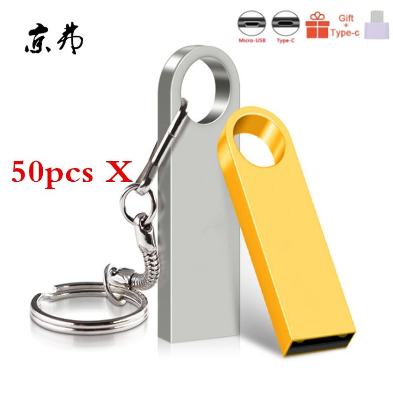 50pcs Metal USB Flash Drive 256MB 128MB 256MB 32GB 16GB 8GB Pendrive Cle USB Flash Stick Pen Drive 4GB USB Stick Print Logo Gift
