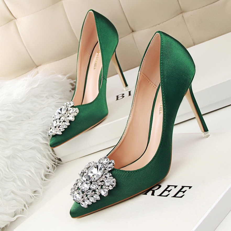 6cm high heel classic sexy pointed toe heels women pumps shoes flock spring brand wedding pump green blue red yellow smybk 017 Women Fashion Crystal High Heel Shoes 2019 Sexy Pointed Toe Thin Heels Wedding Pumps Casual Elegant Sexy Green Shoes Autumn