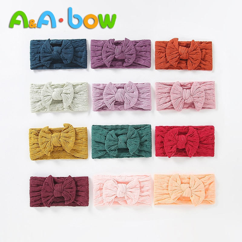 1 Uds diadema para niñas bebé diadema en forma de lazo diadema Linda turbante flor cabeza envolver accesorios para el cabello de bebé 27 colores