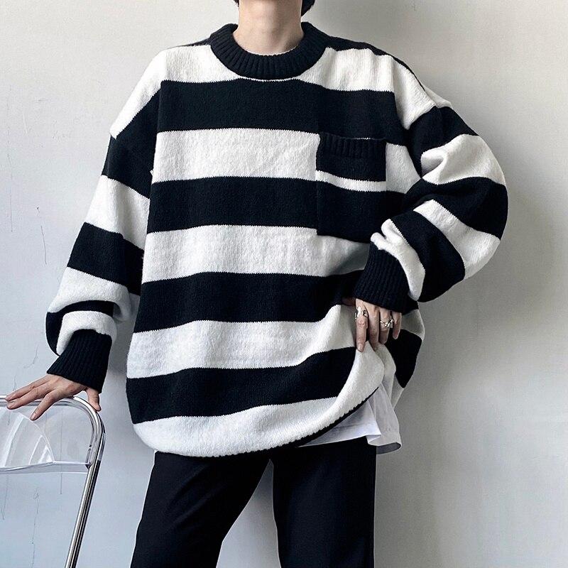 جديد موضة 2021 ملابس الشارع الشهير بلوفر واسع مخطط كنزة موضة خريف وشتاء ياقة مستديرة ملابس علوية كبيرة الحجم للرجال