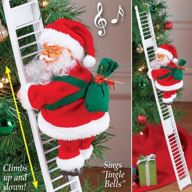 Escalador de Santa Claus eléctrico decoración colgante de Navidad escalera colgante para decoración árbol de Navidad 2
