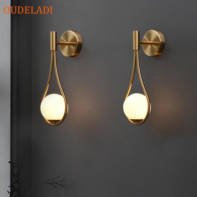 مصباح جداري معدني على الطراز الاسكندنافي ، مصباح جداري حديث وبسيط ، زجاج بجانب السرير ، لغرفة المعيشة وغرفة النوم