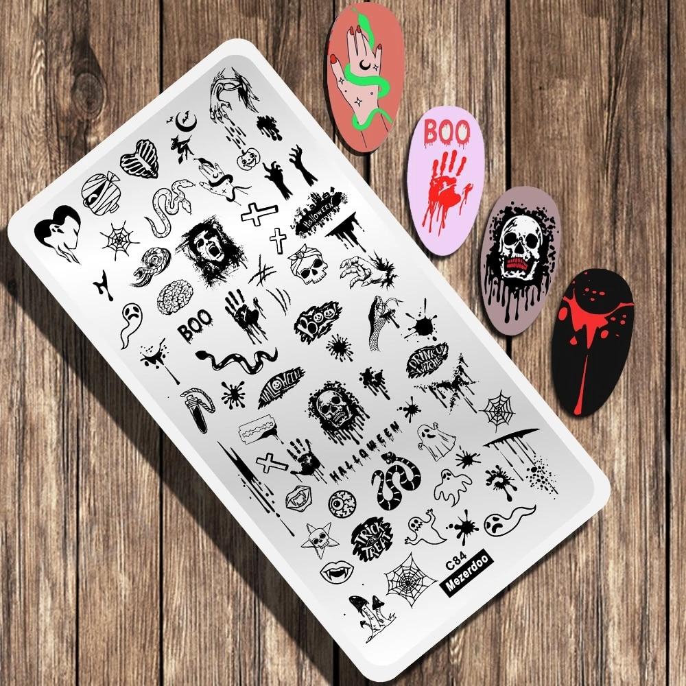 Штамповочные пластины для ногтей на Хэллоуин пластины с изображением паука призрака фестиваля для ногтевого дизайна пластины из нержавеющей стали для ногтевого дизайна Трафаретный штамп