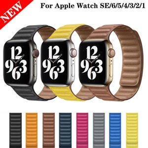Leather Loop Strap for Apple Watch 44mm 40mm 42mm 38mm Magnetic Straps for Apple Watch Series 6 Se 5 4 3 2 1 Replacement  Bands