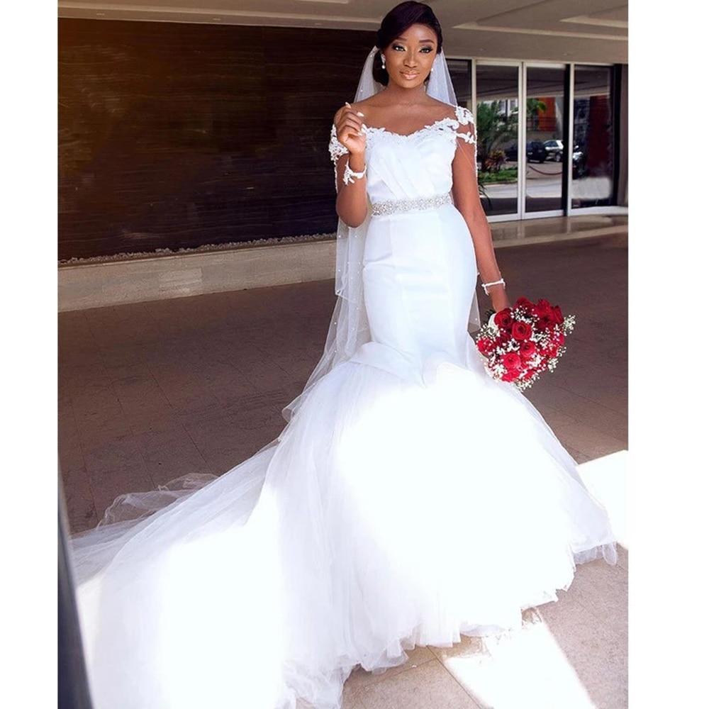 African Mermaid Wedding Dresses Long Sleeve Vestidos De Novia Rhinestone Belt Puffy Bridal Marriage Gowns Garden Robe De Mariee