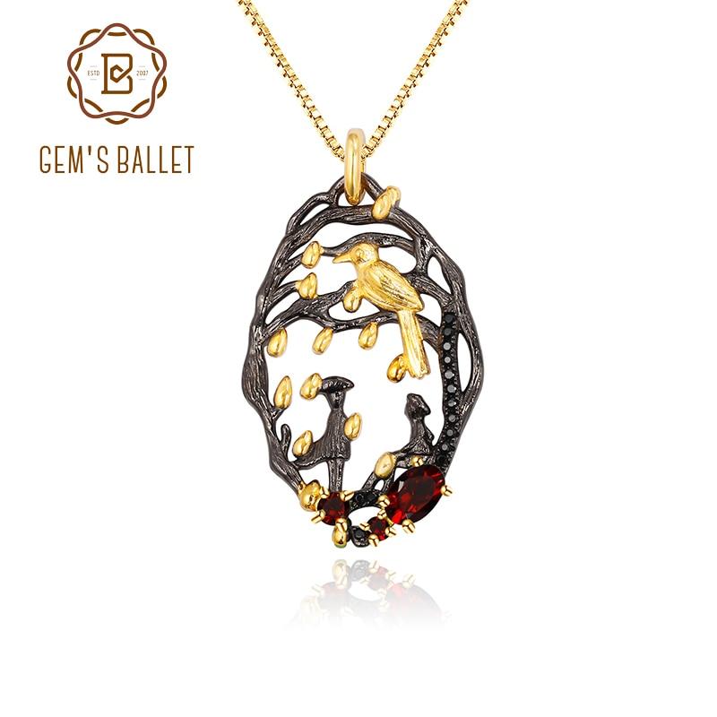 GEMS BALLET 925 colgante artesanal de plata negro y oro de 18k granate Natural declaración colgante collar para mujeres serie de amor poema