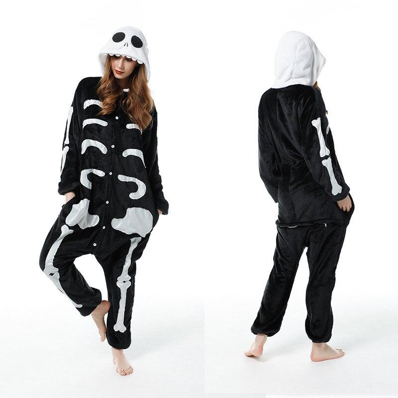 Skeleton Adults Pajamas Winter Women Flannel Sleepwear Unisex Cute Cartoon Animal Pajama Set Kids Hooded Pyjamas Sleepwear