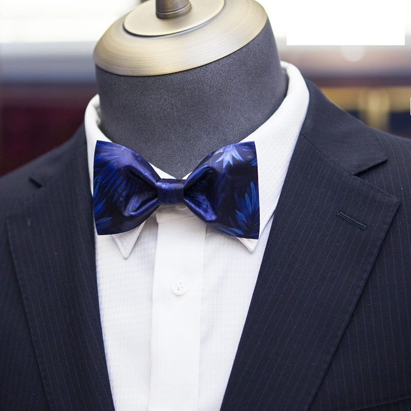 Brand New High Quality Bow Tie For Men Fashion Blue Bow tie Great For Wedding And Party Men's Dress Shirt Neck Tie