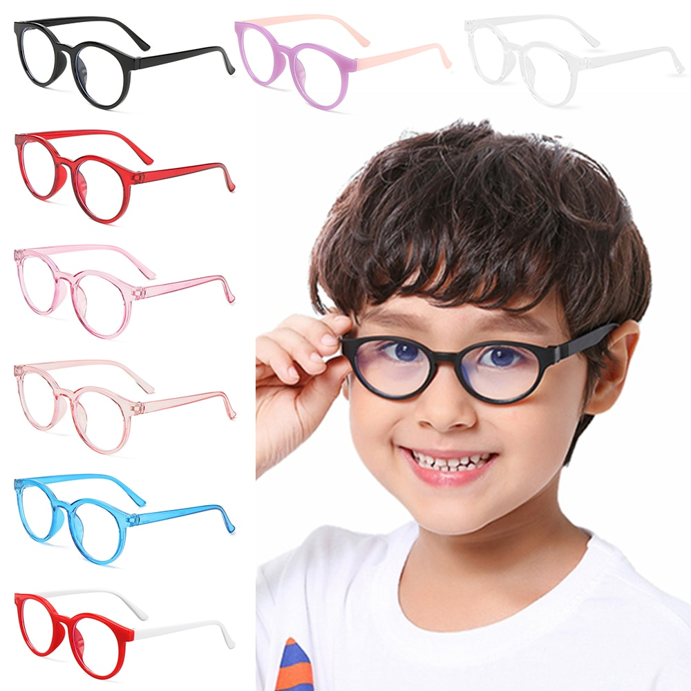 Enfants Anti-lumière bleue lunettes enfants garçons filles rond Ultra léger cadre lunettes Protection informatique Anti-fatigue lunettes