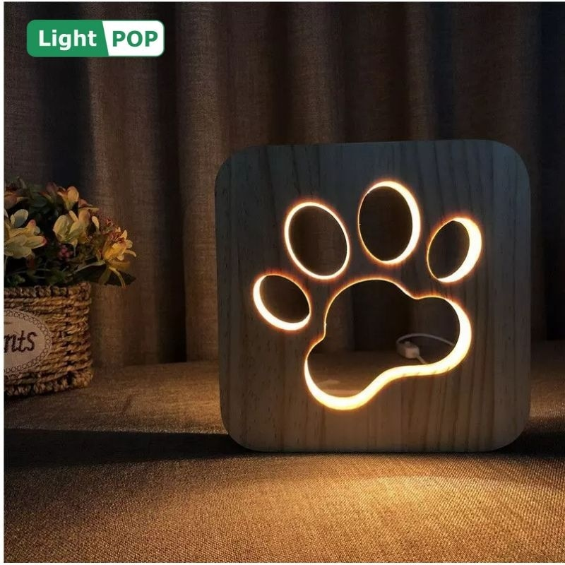 nova pata de gato led night light com o mesmo estilo pata do cao 3d escultura em