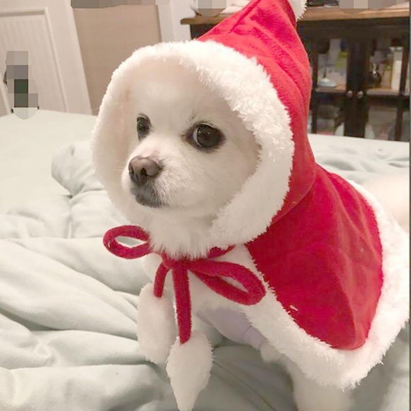 Traje de mascota moda gatos chales cachorro Color sólido chales para mascotas perros gatos Navidad Festival vestido