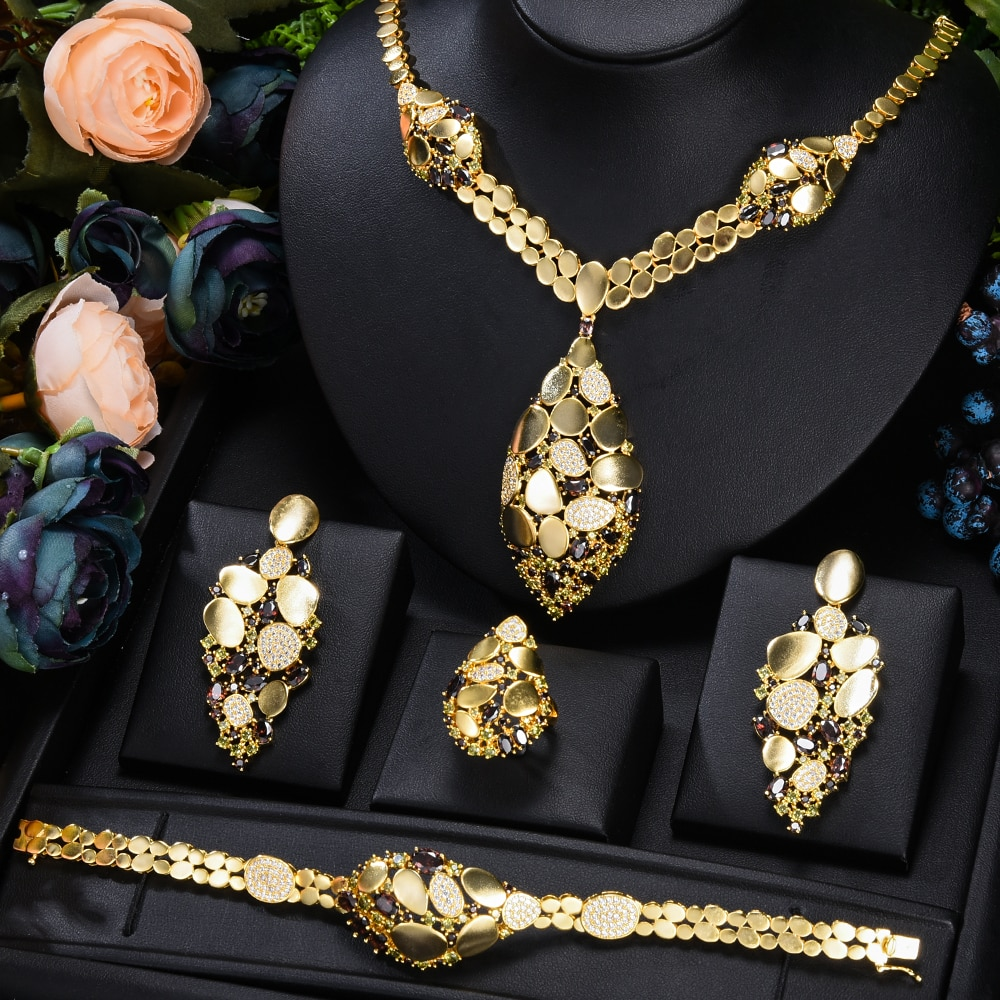 GODKI العلامة التجارية الشهيرة بلينغ الترتر الفاخرة أفريقيا دبي طقم مجوهرات s للنساء حفل زفاف الزركون الزفاف طقم مجوهرات الزفاف هدية