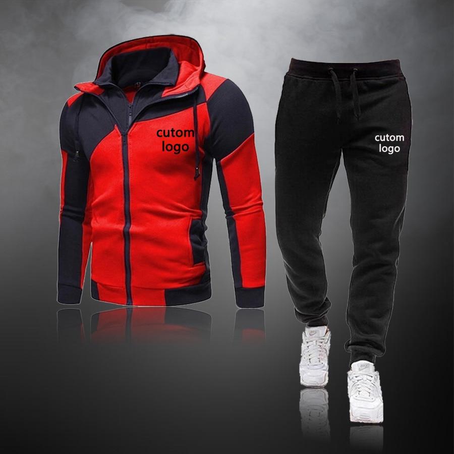 Повседневный Спортивный костюм с логотипом на заказ, мужские комплекты, толстовки и брюки, комплект из 2 предметов, свитшот на молнии, наряд, ...