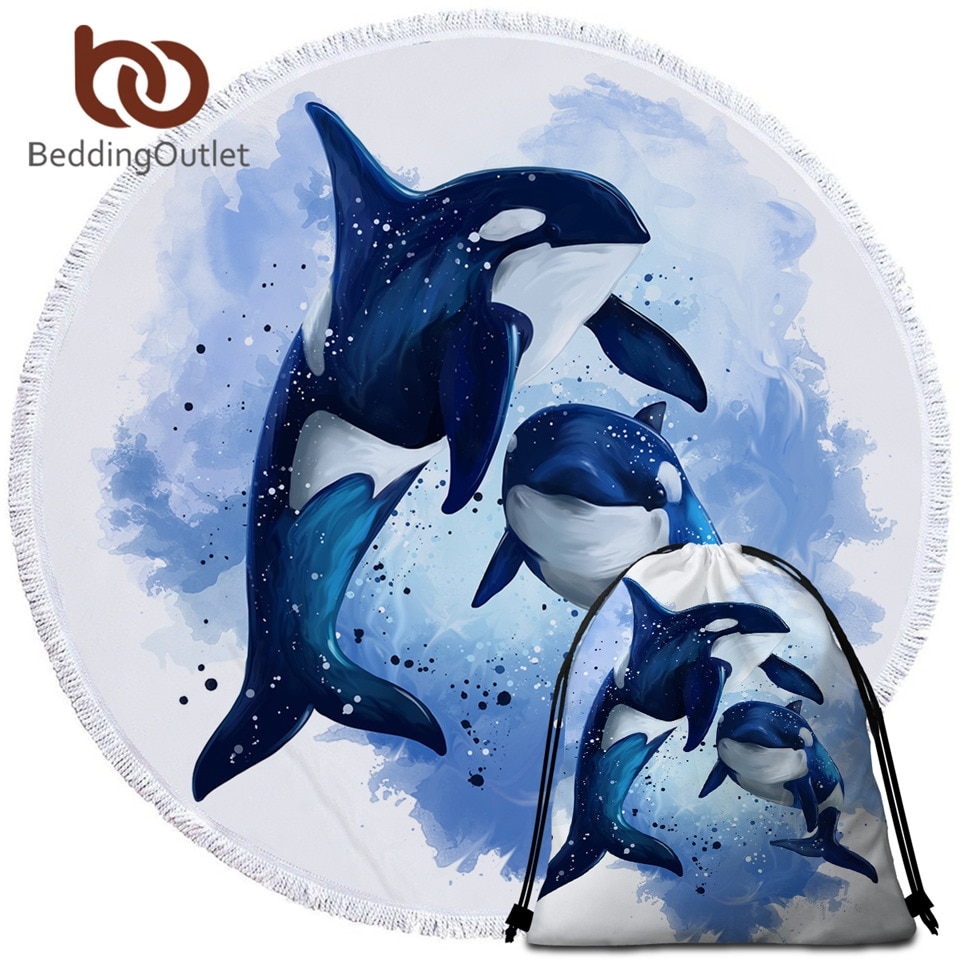 BeddingOutlet Orcinus Orca Orcas Verão Cobertor Toalha de Praia Marinha Vida Esteira de Praia Aquarela Azul Toalha De Microfibra 150 centímetros