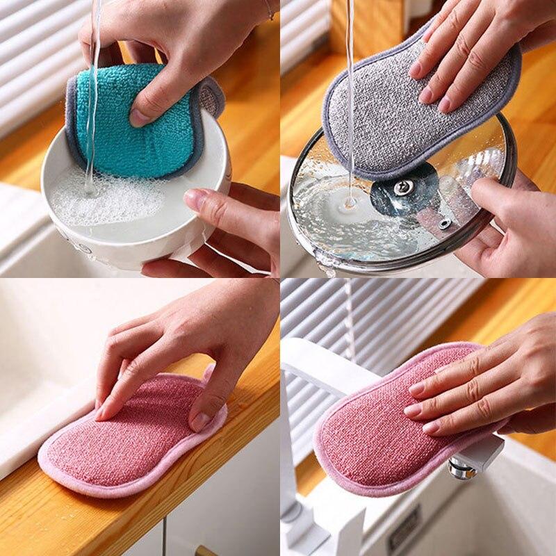 Кухонные тряпки из микрофибры, толстые двухсторонние тряпки для мытья посуды, полотенца для мытья посуды, предметы для чистки, кухонные инс...