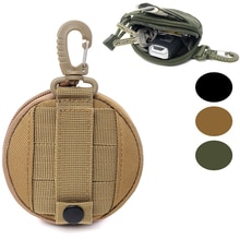 1000d redondo tático carteira bolsa portátil moeda chave bolso para caça cintura com clipe ao ar livre acessórios saco edc bolsa