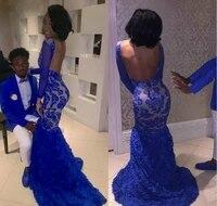 royal blue lace prom mermaid bateau long formal pageant holidays wear graduation evening party gown robe de soir%c3%a9e de mariage