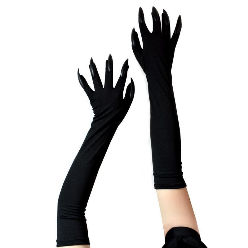 Женские длинные перчатки с призрачным когтем, модные черные длинные перчатки для косплея, Хэллоуина, забавные перчатки