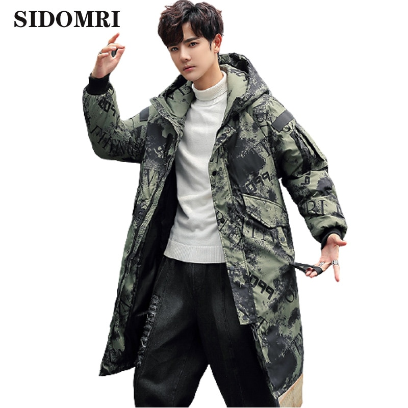 Winter down jacket for men hot style medium length 90%white duck down popular logo slimming camouflage jacket