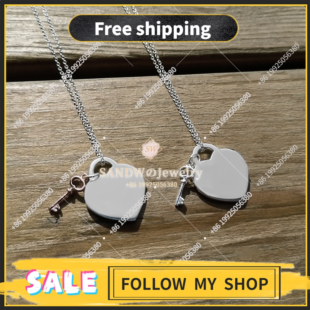 Heart-shaped Key Necklace S925 Sterling Silver Jewelry Lady Pendant Light Luxury Charm High Quality