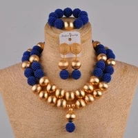fashion royal blue nigerian necklace african beads jewelry set fzz42 01