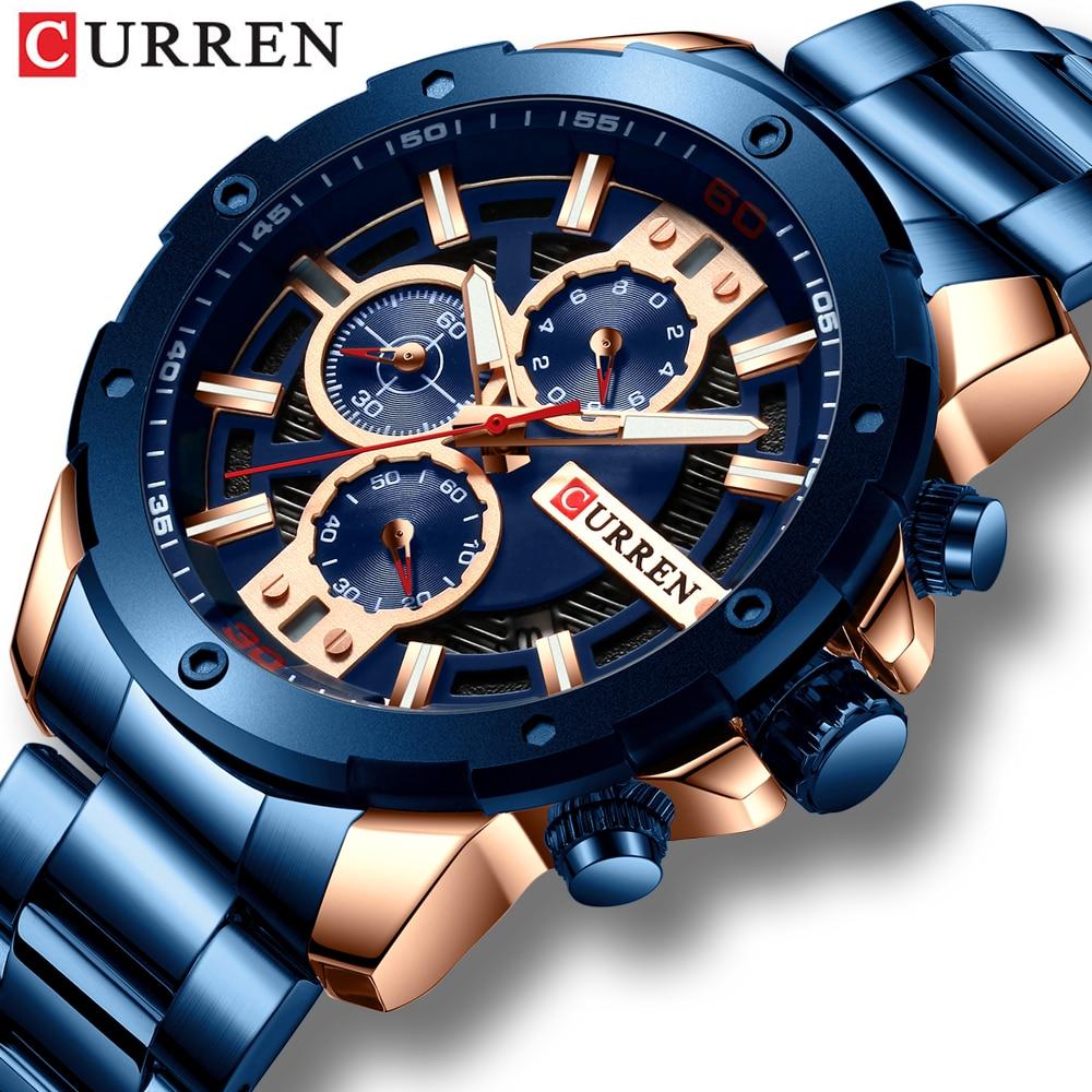 Nuevo reloj de cuarzo CURREN luminoso para hombre, relojes de acero inoxidable deportivos de moda, reloj de pulsera 3ATM impermeable, relojes de cronógrafo