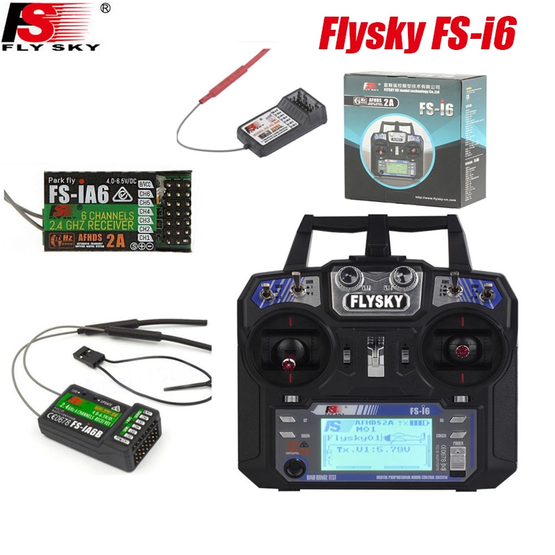 Flysky FS-i6 2.4G 6CH AFHDS Transmitter Controller With FS-iA6&FS-iA6B Receiver For RC Drone Airplane Quadcopter/with retail box flysky receiver fs gr3e fs a3 fs ia6 fs r6b fs x6b fs a8s fs r9b fs ia10b fs ia10