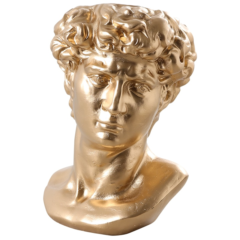 Las ventas de David estatua florero Flor Retro escultura tipo maceta hogar cemento adornos para manualidades de sala de estar de yeso de R124