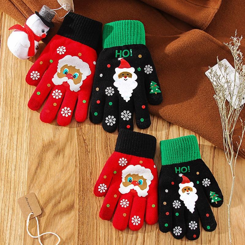 Рождественские перчатки варежки теплые перчатки для рук для женщин черные перчатки студенческие мужские перчатки для сенсорного экрана то...