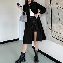 Women's Autumn Trench Coat New Loose Korean Style Temperament Peter Pan Collar Khaki Sweet Jackets L