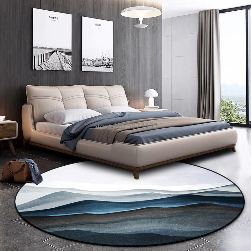 200cm Fashion Modern Blue Mountain Peak Living Room Bedroom Hanging Basket Chair Round Floor Mat Carpet Customization