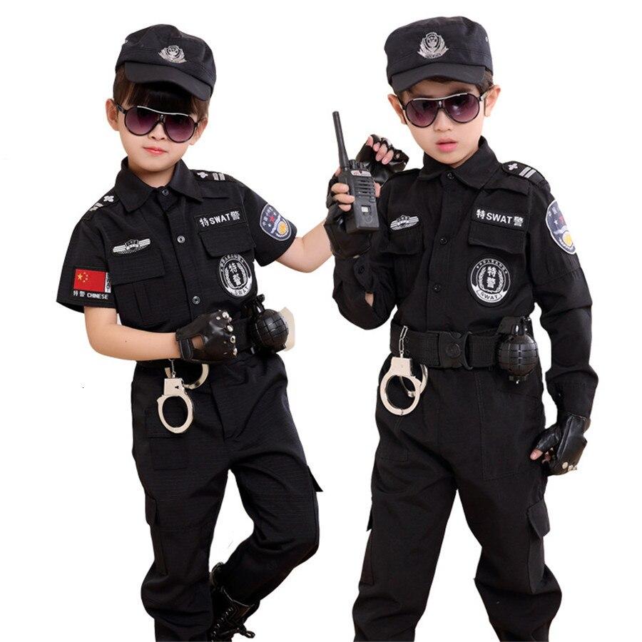 Disfraz de policía de tráfico para niños, disfraz de policía, uniforme de policía, falda femenina plisada, equipo de estudiantes, actuación de fiesta de Halloween, 2019