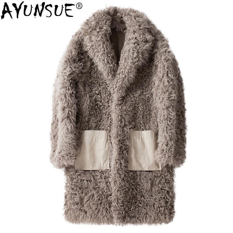 AYUSNUE معطف الفرو الحقيقي الرجال الأغنام القص الشتاء سترة الرجال طويلة الصوف الفراء معاطف وسترات فرو الضأن الطبيعي 2020 19343 KJ3315