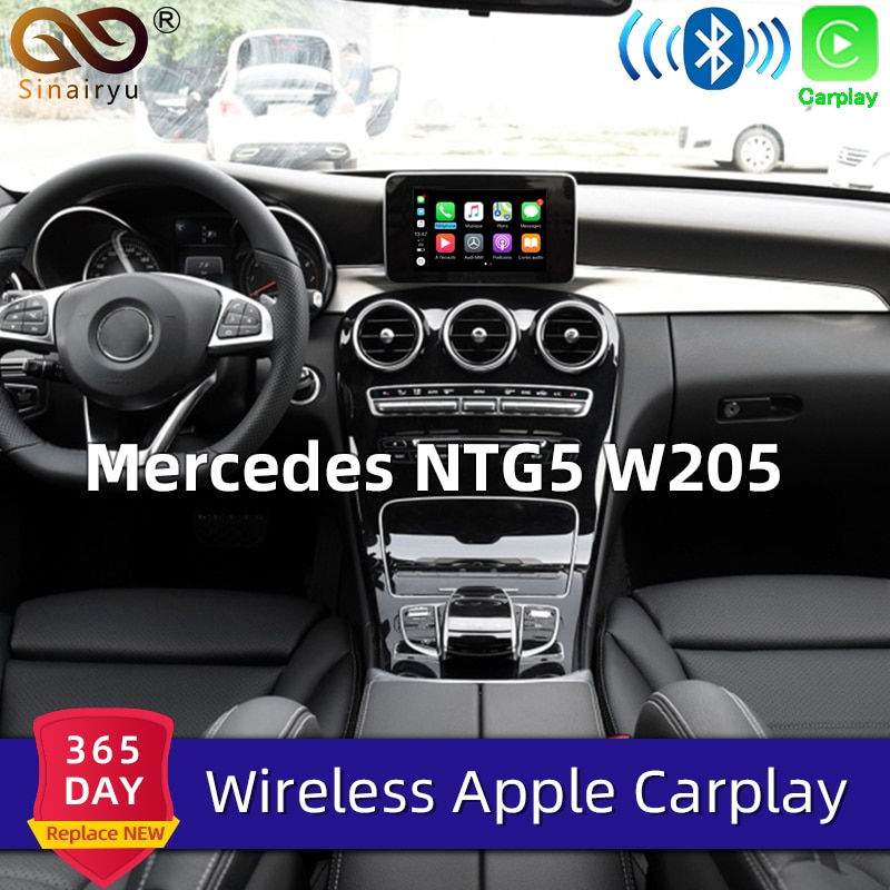 Sinairyu Wifi inalámbrico Carplay Mercedes Clase C w205 NTG 5,1, 5,2 de 5,5 coche de Apple jugar iOS13/reproductor de video para Android adaptador para Benz