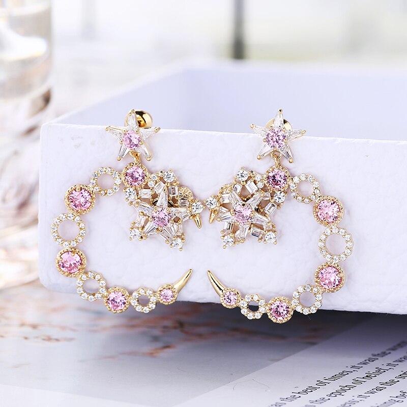 XIUMEIYIZU de lujo pendientes de estrella de circonita de Mujeres de moda diseño de Luna pendientes rodio joyas de chapado en oro para regalos de boda