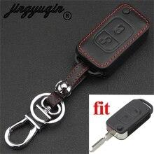 Jingyuqin 2 boutons à distance clé de voiture en cuir étui de style Fob couverture pour Mercedes Benz A C E S SLK E113 W rabat pliant porte-clés