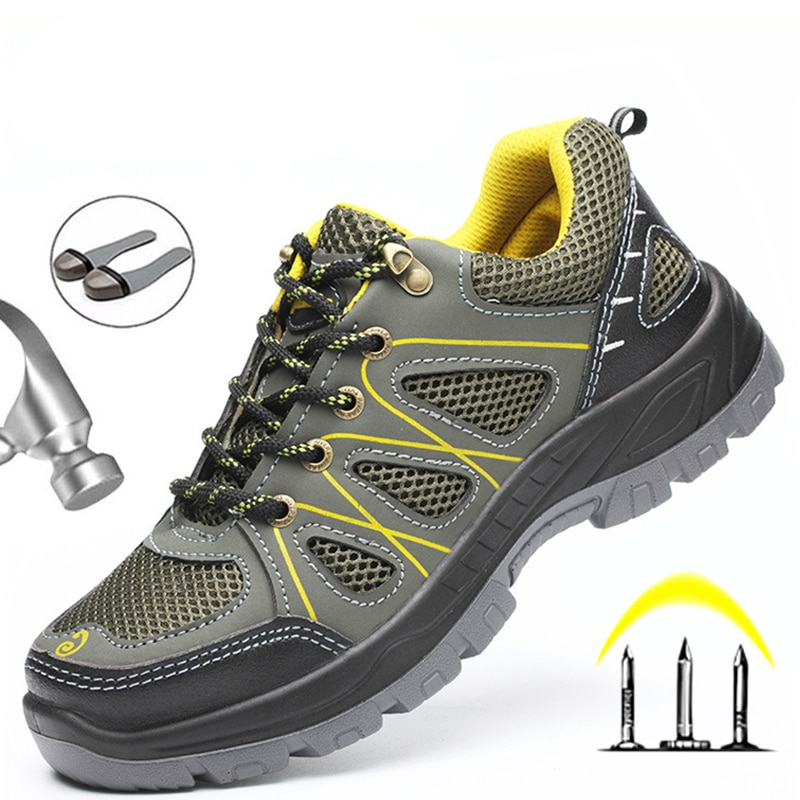 Breathable Steel Toe Work Shoes Safety Boots Men Anti-smashing Indestructible Security Sneakers