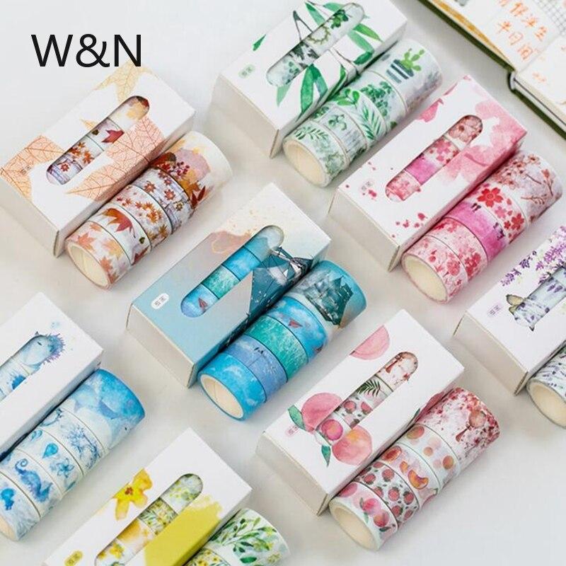 5 шт./лот, набор свадебных лент для скрапбукинга с цветами, милые бумажные малярные клейкие ленты, декоративные японские канцелярские принад...