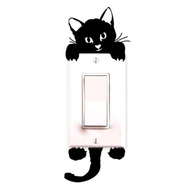 Bonitos adhesivos de gato para pared decoración para interruptor de luz pegatinas bonitas arte Mural adhesivo PVC para sala de estar decoración del hogar TXTB1