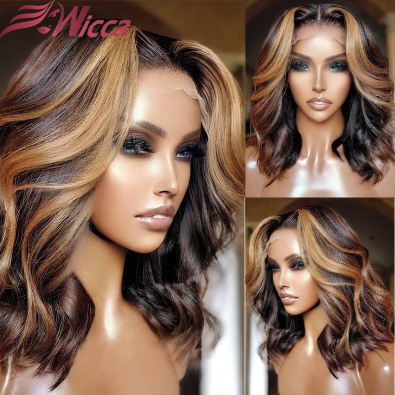 Body Wave Lace Front Wig Brazilian Human Hair Wigs For Women Honey Blonde Highlight 30 Inch 180 Dens