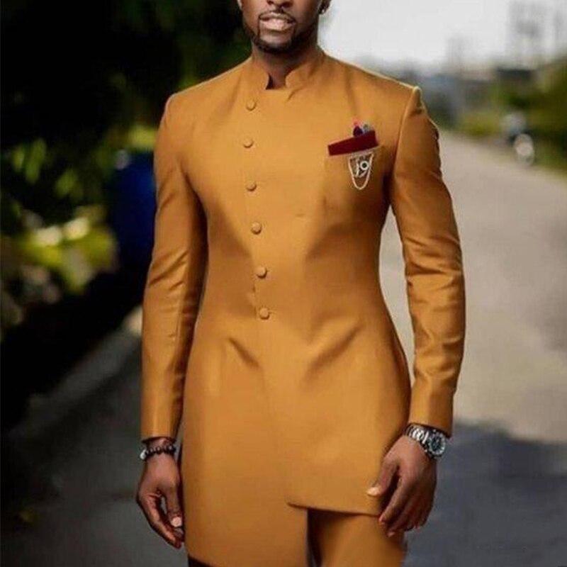 Золотые мужские костюмы с воротником-стойкой, свадебные костюмы для жениха, костюмы terno masculino, облегающие костюмы из двух предметов, куртка и...