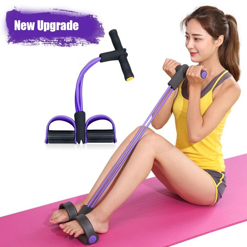Banda de resistencia de Pilates de Rally de cuatro tubos con Pedal de pie, herramienta de entrenamiento para Yoga, hogar