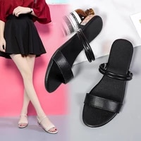 2021 summer new style thick heel round head thin strap two wear sandals female wild fairy style sandals and slippers x716
