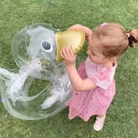 creative new hot selling net red male children transparent big headed duck swimming ring baby buoyancy lifebuoy